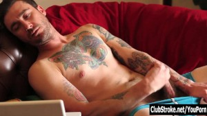 Tattooed Straight Guy Dane Masturbating