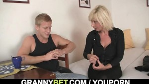 He helps mature blonde