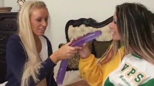 Dildo-sharing lesbo cheerleader