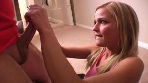 Handjob from cute amateur blonde girl 3