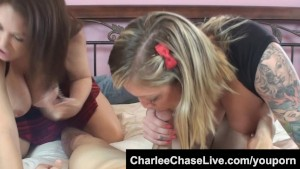 Taylor Raz and Charlee Chase suck a hard cock