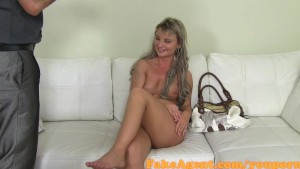 FakeAgent Cute Petite Blonde gets sprayed with Spunk in Office