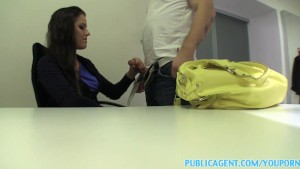 PublicAgent Slim brunette strips down to underwear for sex