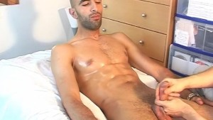 str8 French handsome arab guy serviced by a guy in spite of him !