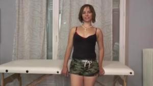A fake French masseur fucks a brunette