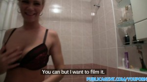 PublicAgent Blonde loves it in the bathroom