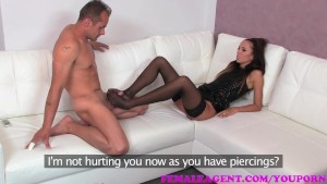 FemaleAgent. Sexy agent tests studs ribbed for pleasure cock