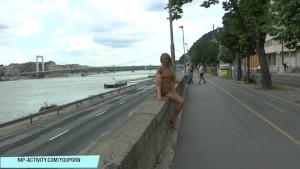 Blonde babe jenny naked on public street