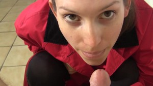 She tries on raincoats and boots while sucking your cock to cumshot