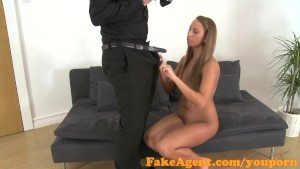 FakeAgent Tanned dancer fucked hard and then takes Creampie in Office
