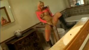 Masturbating Blonde Caught and Cock Sucks Two!