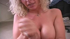 Busty mature milf jerking dick 7
