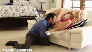 Hot blonde makes bf worship her pussy