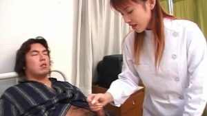 Rina Usui nurse is touched on cans while stroking patient cock
