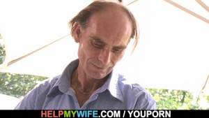 Old husband watching young wife riding stranger s cock