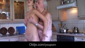 Slutty brunette licks oldman wrinkled skin and fucks him