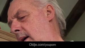 Slutty brunette licks oldman wrinkled skin and fucks him