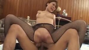Haruka Sanada gets so much fuck through crotchless stockings