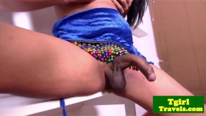 Tgirl Baby shoves dildo in her tight ass