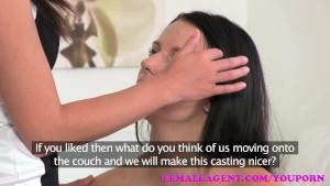 FemaleAgent Busty agent seduces shy beauty in steamy lesbian casting