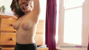 Bedroom Rummage - trailer - busty brunette tries clothes on in her bedroom big milky white tits