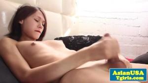 Adorable asian tgirl tugging away in solo fun
