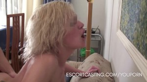 Casting Blonde Escort Gives a Girlfriend Experience to Client In His Home