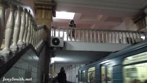 Jeny Smith subway upskirt pussy flash.
