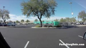Porta Gloryhole Teen gives blowjobs in public