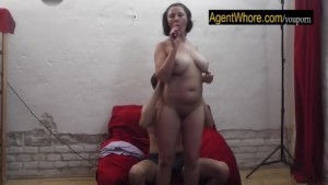 BUSTY milf with shy guy at their first casting