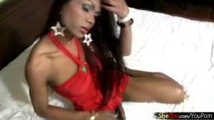 Elegant woman-like ladyboy shows ladystick and sucks in POV