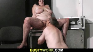 Fat bitch rides his dick after oral prelude