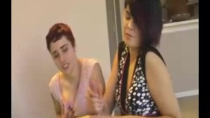 Goth Teen Jerks Big Cock Off Before Her Horny Friend