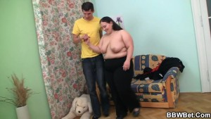 Hot fat slut jumps on cock