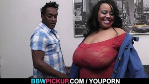 Huge plumper in red lingerie used by black guy