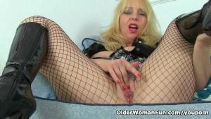 British milf Lucy Gresty masturbates in fishnet pantyhose