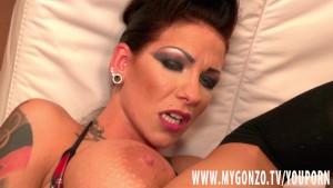 Tattooed German babe Jordan Night shows boobs and fucks hard
