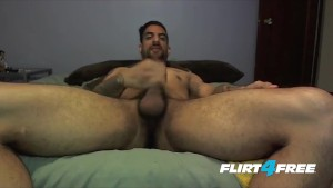 Dude Strokes His Beautiful Cock and Jizzes in His Hand