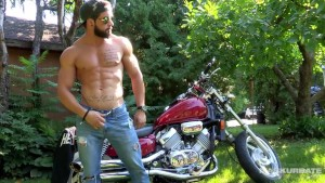 Maskurbate Hunky Biker Jerks Dick Outside