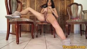Beautiful tgirl pleasures herself