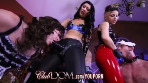 Femdom Goddesses Pegging Virgin Ass On Halloween