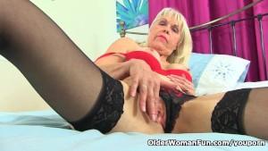 British gilf Lady Sextasy continues her masturbatory routine