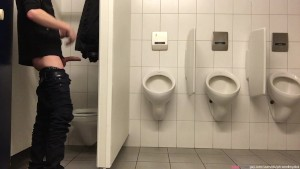 Pissing in the men s room NOT in the urinals - but first a bit of dick fun