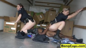 Threesome cops riding bbc face sitting interracial