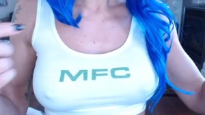Lonely cosplayer in blue hair camming for some company