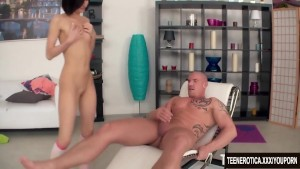 Young brunette likes anal creampie