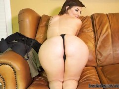 Busty teen amateur plays with her pussy on casting couch