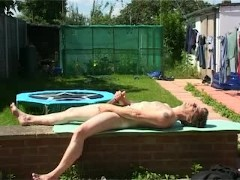 Picture Wanking in the garden
