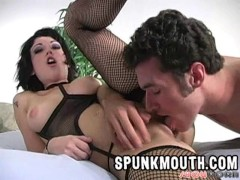 Picture Riley Mason fucked in fishnets and spunkmout...