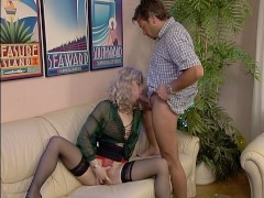 Picture Pretty blonde girl licks her mans ass